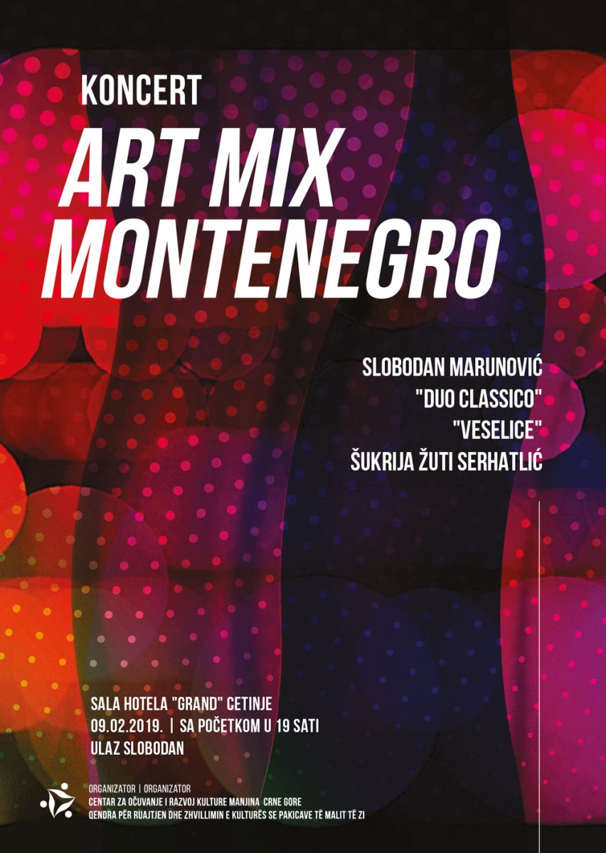 "Концерт ""Арт Миx Монтенегро"" у суботу на Цетињу"