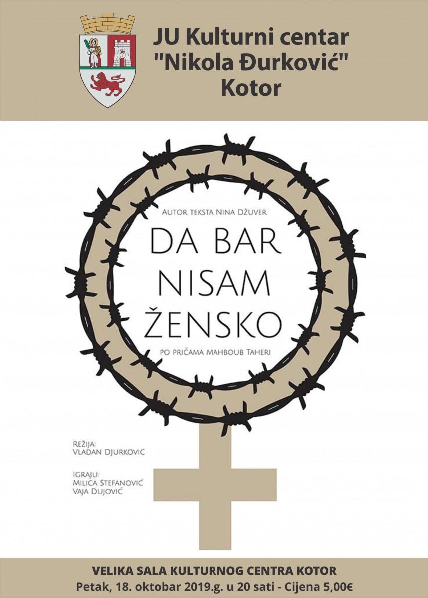 Predstava DA BAR NISAM ŽENSKO u Kotoru