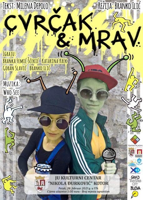 U kotorskom Kulturnom centru predstava CVRČAK I MRAV